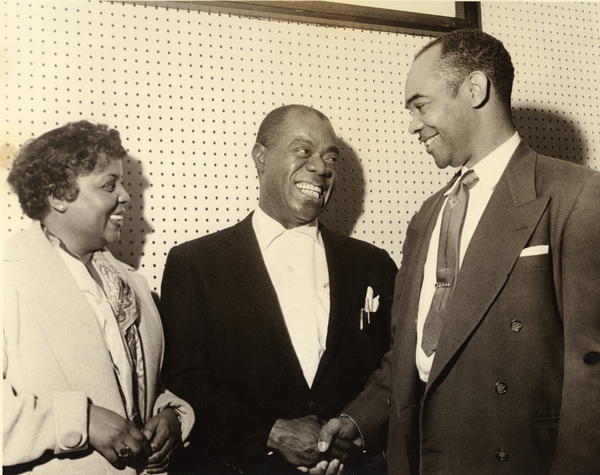 Roy Partridge, right, meeting Louis Armstrong at FAMU in Tallahassee.