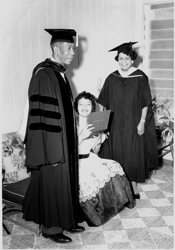 Florida A&M University president George Gore standing with his wife and daughter in Tallahassee.