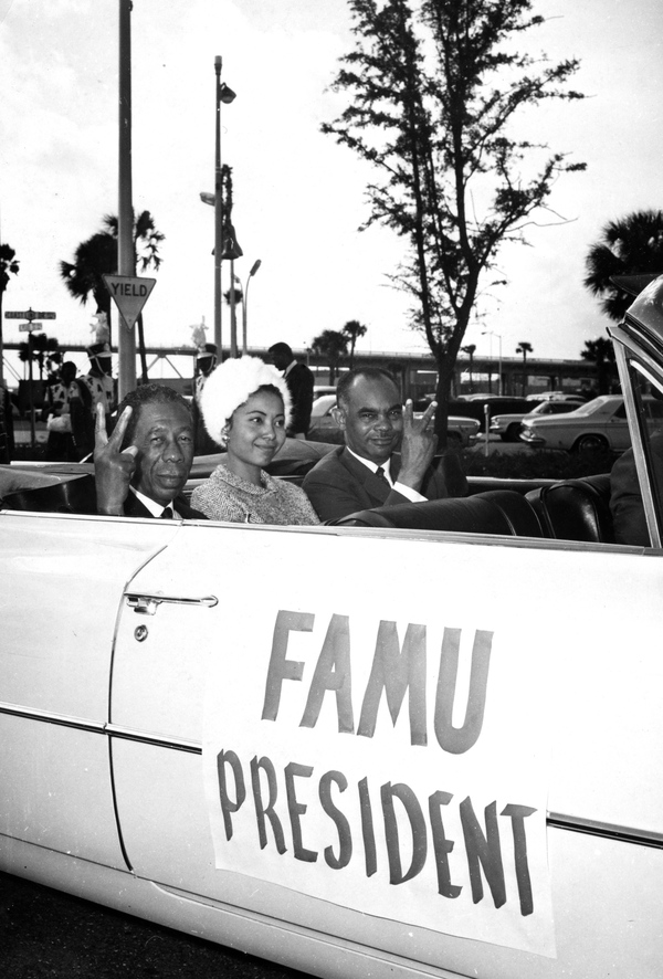 Mr. and Mrs. Partridge riding with FAMU president George Gore in Tallahassee.