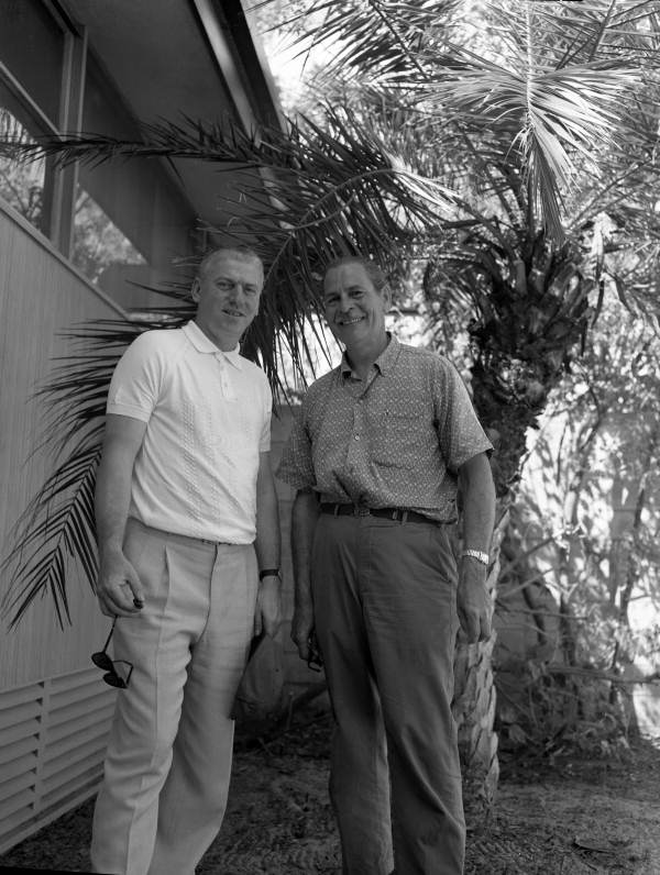 Commercial artist Stu Rae, right, and Tommy Brogan in front of Steinmetz's photographic studio in Sarasota, Florida.