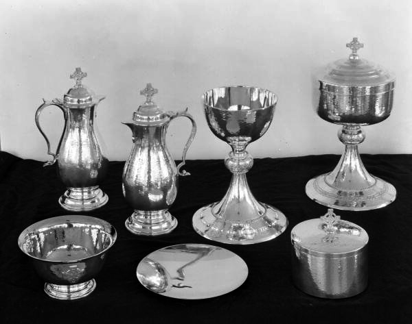Silver Communion set from the Church of the Redeemer in Sarasota, Florida.