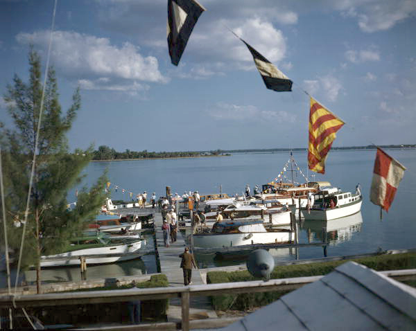 View showing boats docked at the Sarasota Yacht Club.