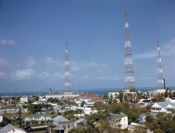 Bird's eye view overlooking a section of the city and showing aerial towers in Key West, Florida.