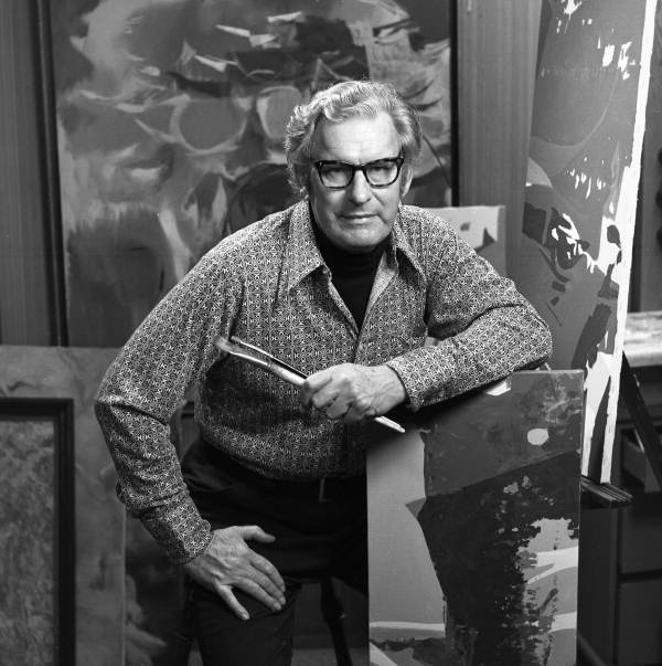 Portrait of painter Elden Rowland at his studio in Sarasota, Florida.