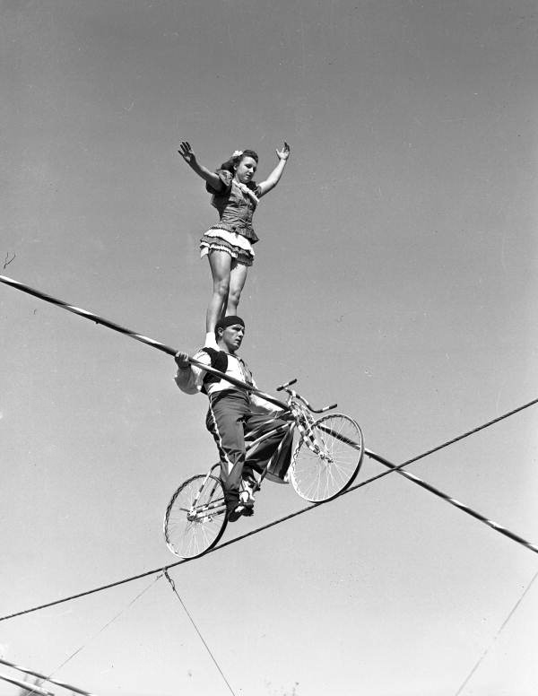 Members of the Flying Wallendas daredevil circus act shown during practice in Sarasota, Florida.