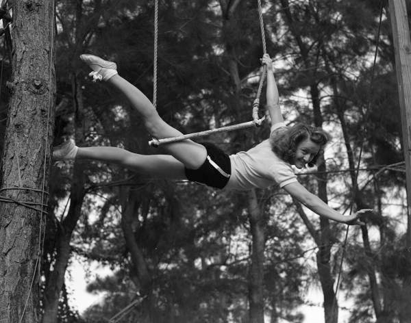 Helen Wallenda, of the Flying Wallendas daredevil circus act, shown during practice in Sarasota, Florida.