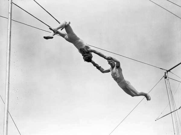 Trapeze artists practicing at the Ringling Circus winter quarters in Sarasota, Florida.
