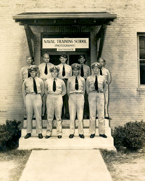 Naval Training School (Photography) instructors gathered for a group portrait at NAS Pensacola.