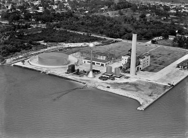 Aerial view of the Florida Power and Light Co. plant in Sarasota, Florida.