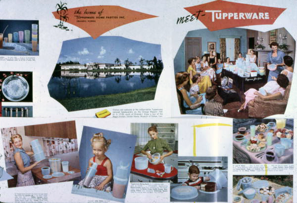 Advertisement showing various Tupperware images.