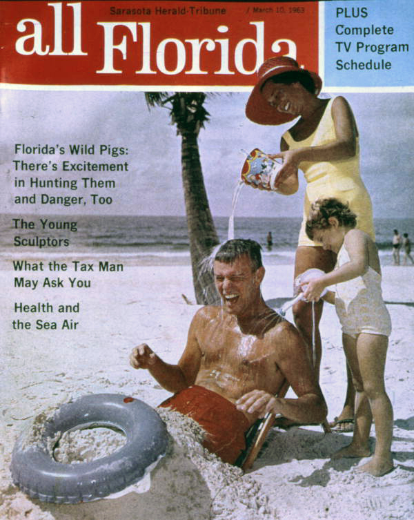 "Copy of the 1963 Sarasota Herald-Tribune newspaper's supplement ""All Florida"" showing a Joe Steinmetz beach image."