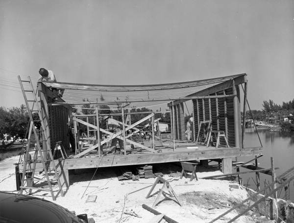 View showing construction of Twitchell's cantilever roof house on Siesta Key near Sarasota, Florida.