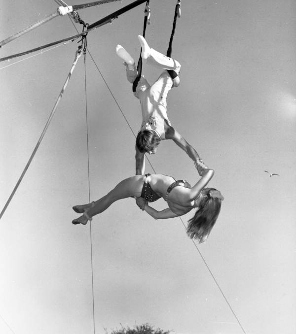 View of young people on the trapeze at the Sarasota High School Sailor Circus.