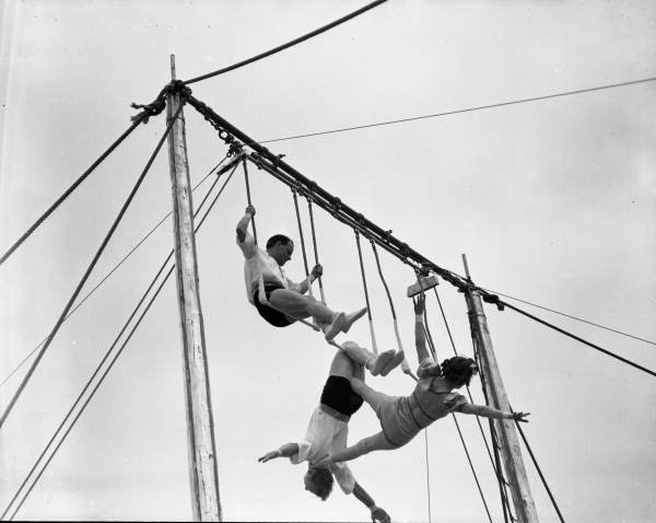 View of Ringling Circus Wolthing trapeze troupe practicing in Sarasota, Florida.