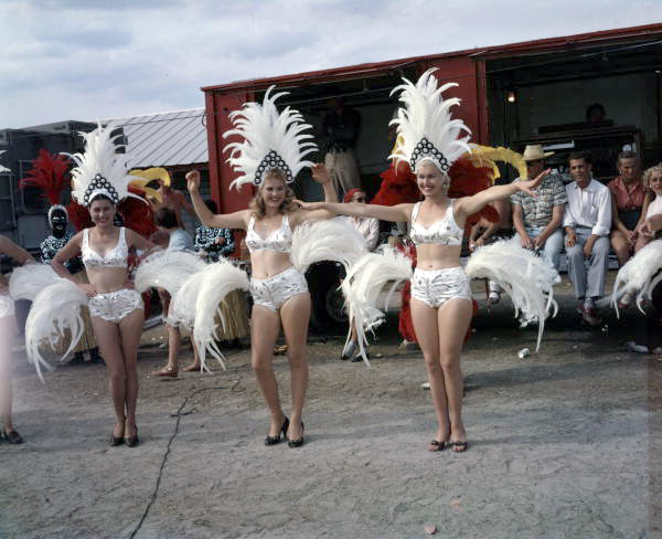 View of Ringling Circus performers in costume at the winter quarters in Sarasota, Florida.