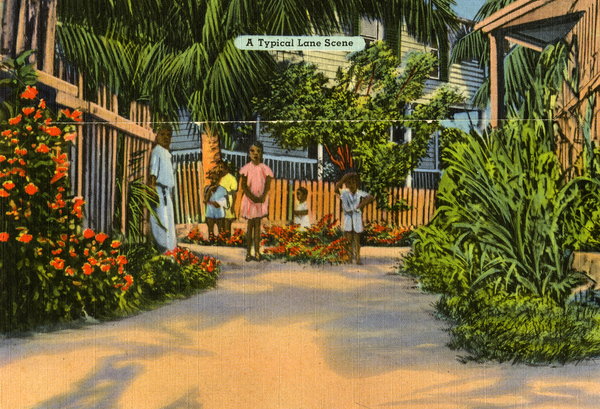 Souvenir viewbook showing a typical lane scene in Key West, Florida.