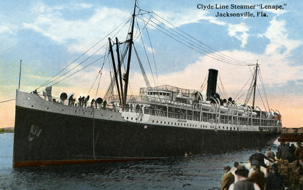 "Souvenir viewbook showing the Clyde Line Steamer ""Lenape"" in Jacksonville, Florida."