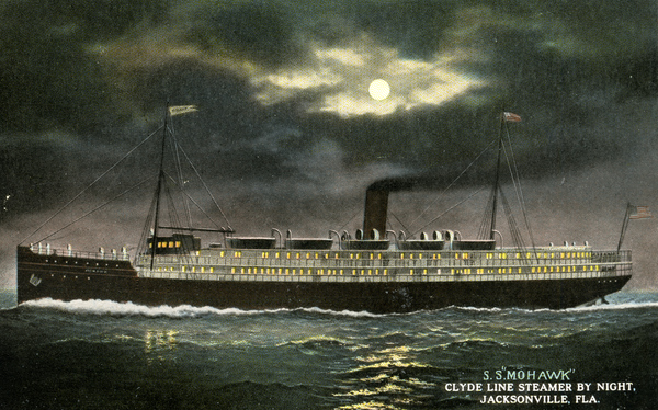 """Souvenir viewbook showing the Clyde Line Steamer """"Mohawk"""" by night in Jacksonville, Florida."""