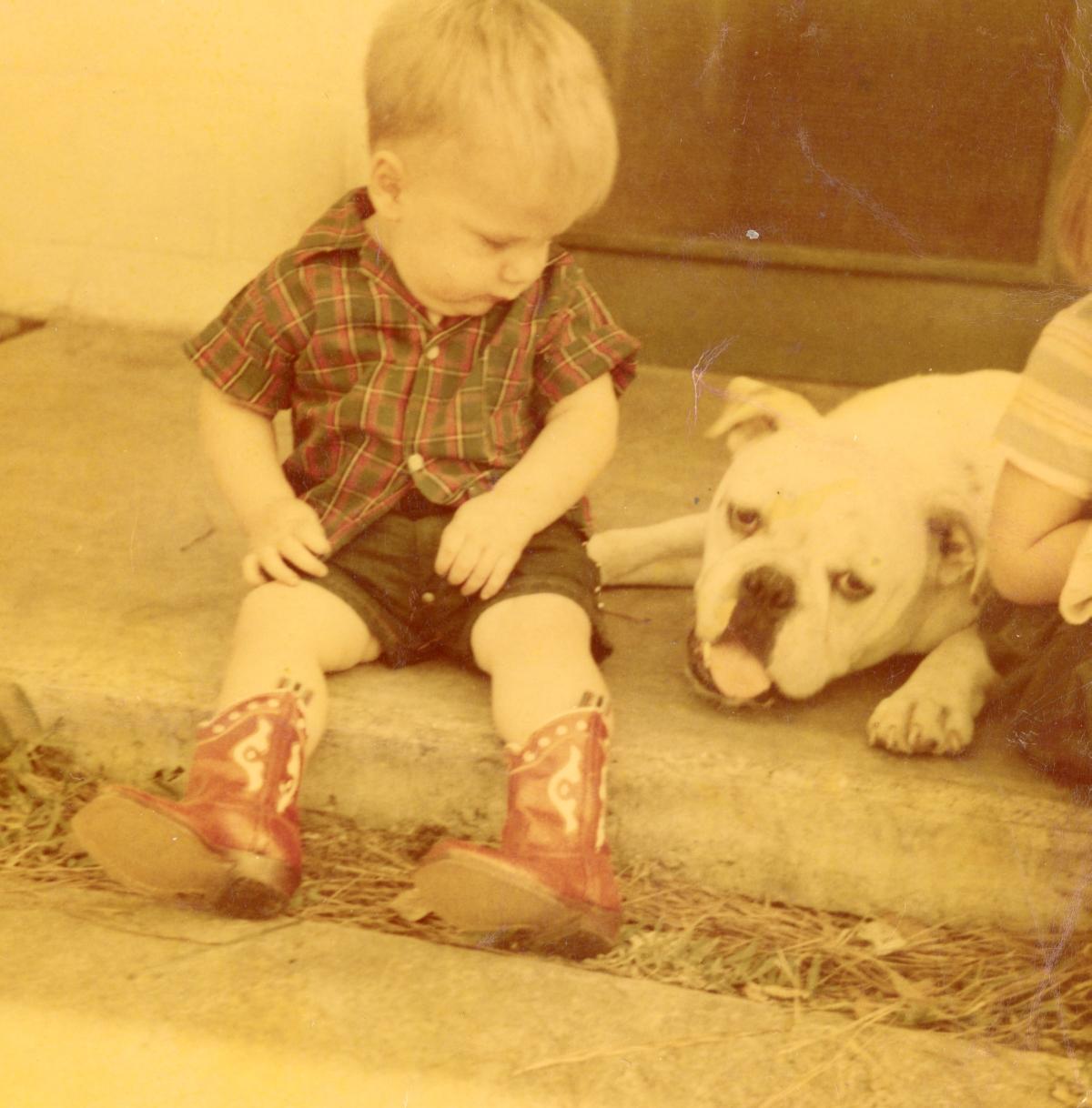 Joseph B. Raney Jr. with pet bulldog Leo.