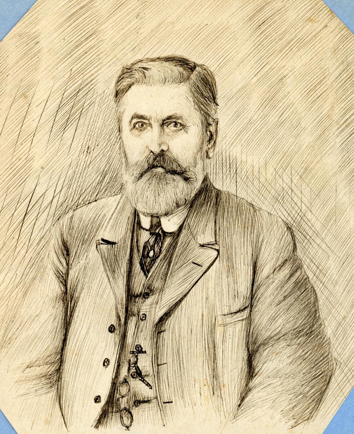 Drawn portrait of vintner Emile DuBois - Tallahassee, Florida.