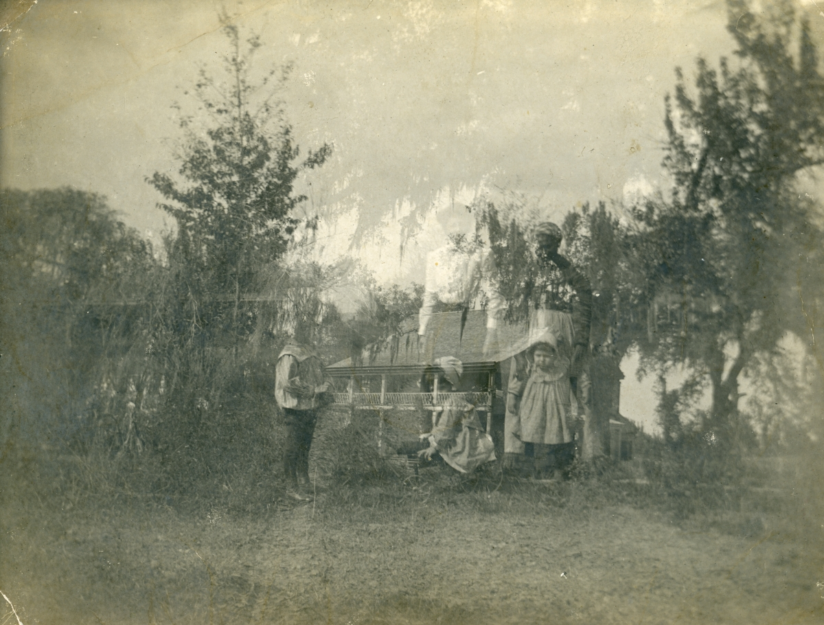 San Luis, home of Emile DuBois (Double exposure with women and children) in Tallahassee.