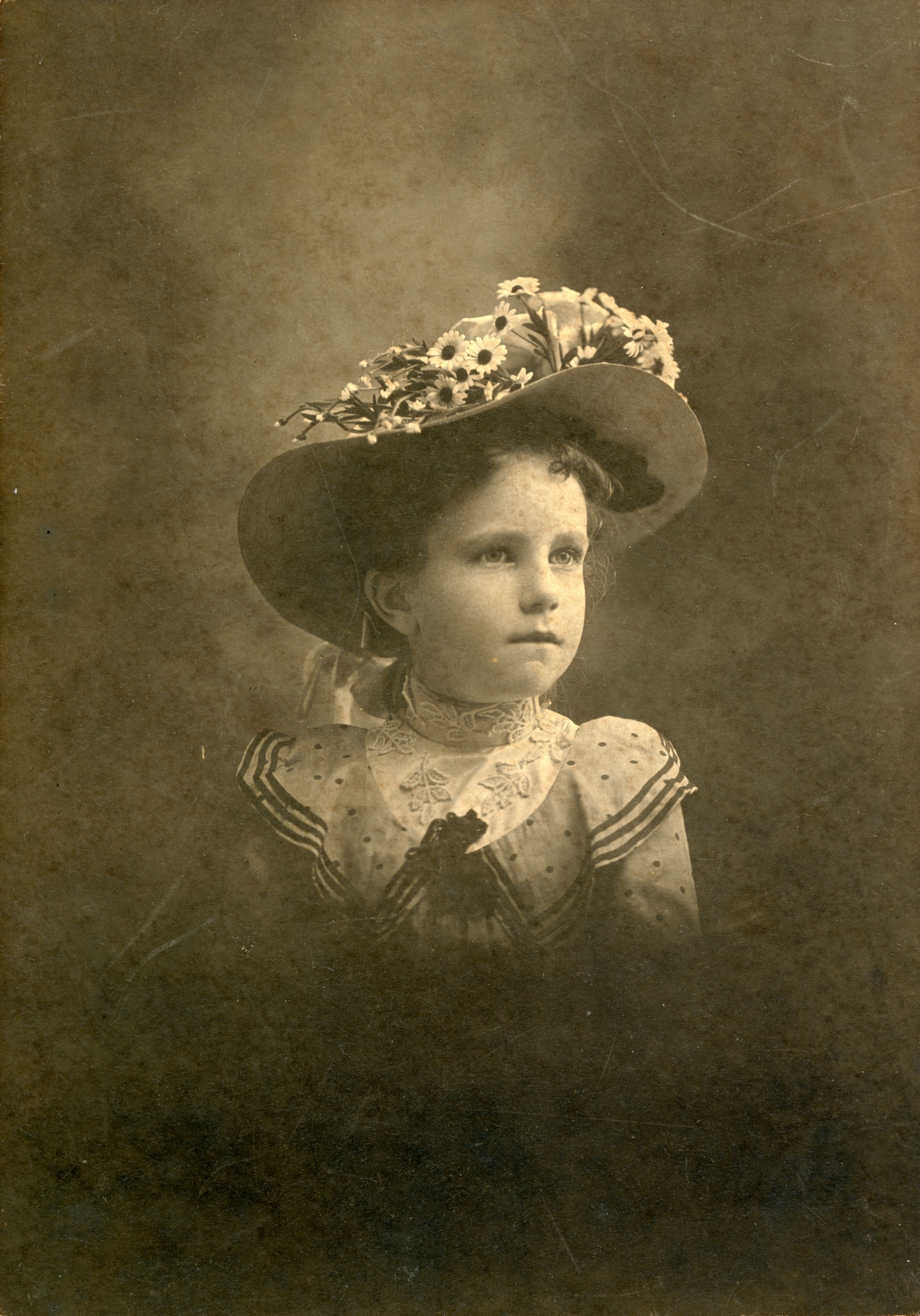 Studio portrait of Clara Sweeting from Bagdad, Florida.