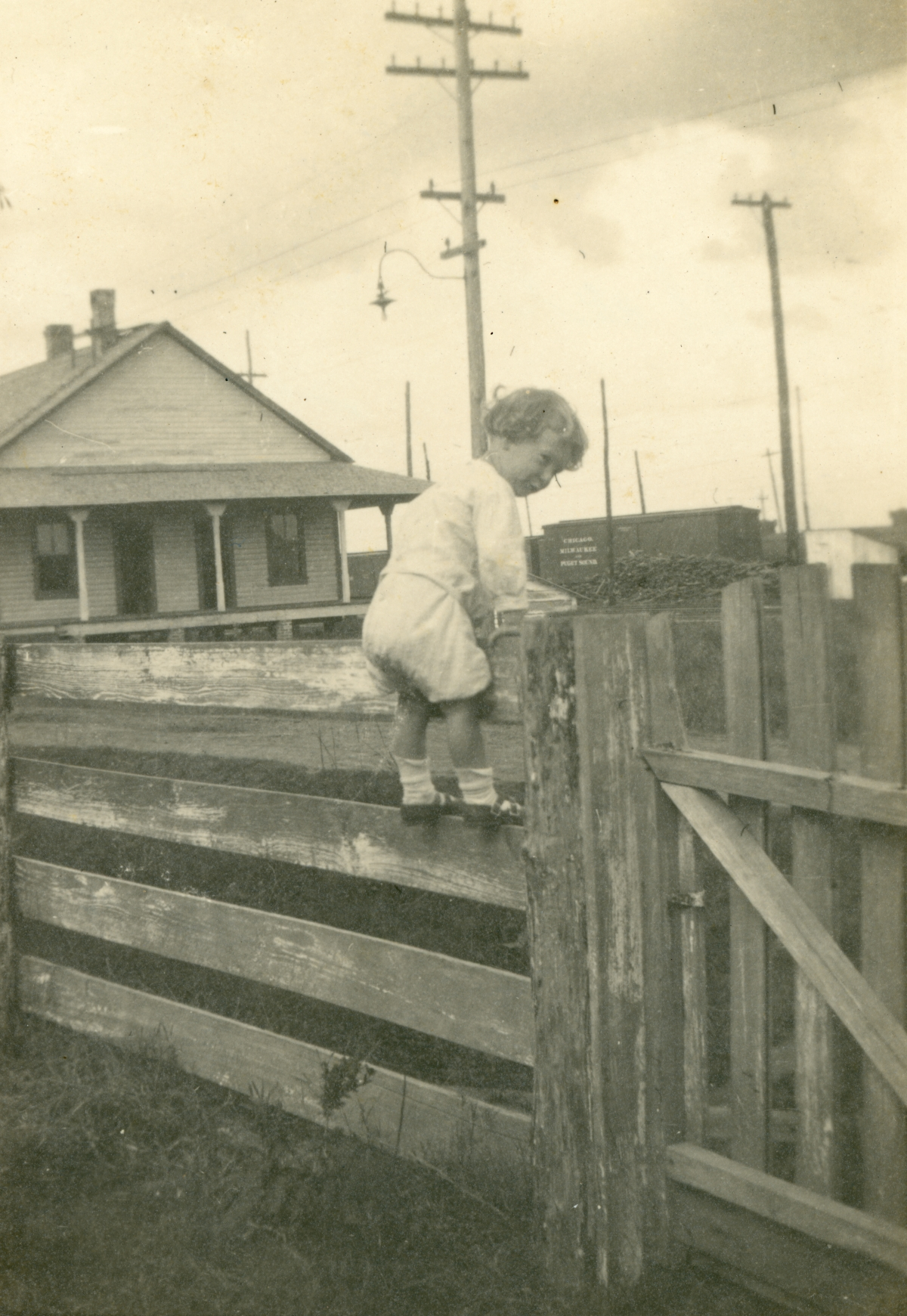 Coleman Dixon climbing the fence at home in Mulberry.