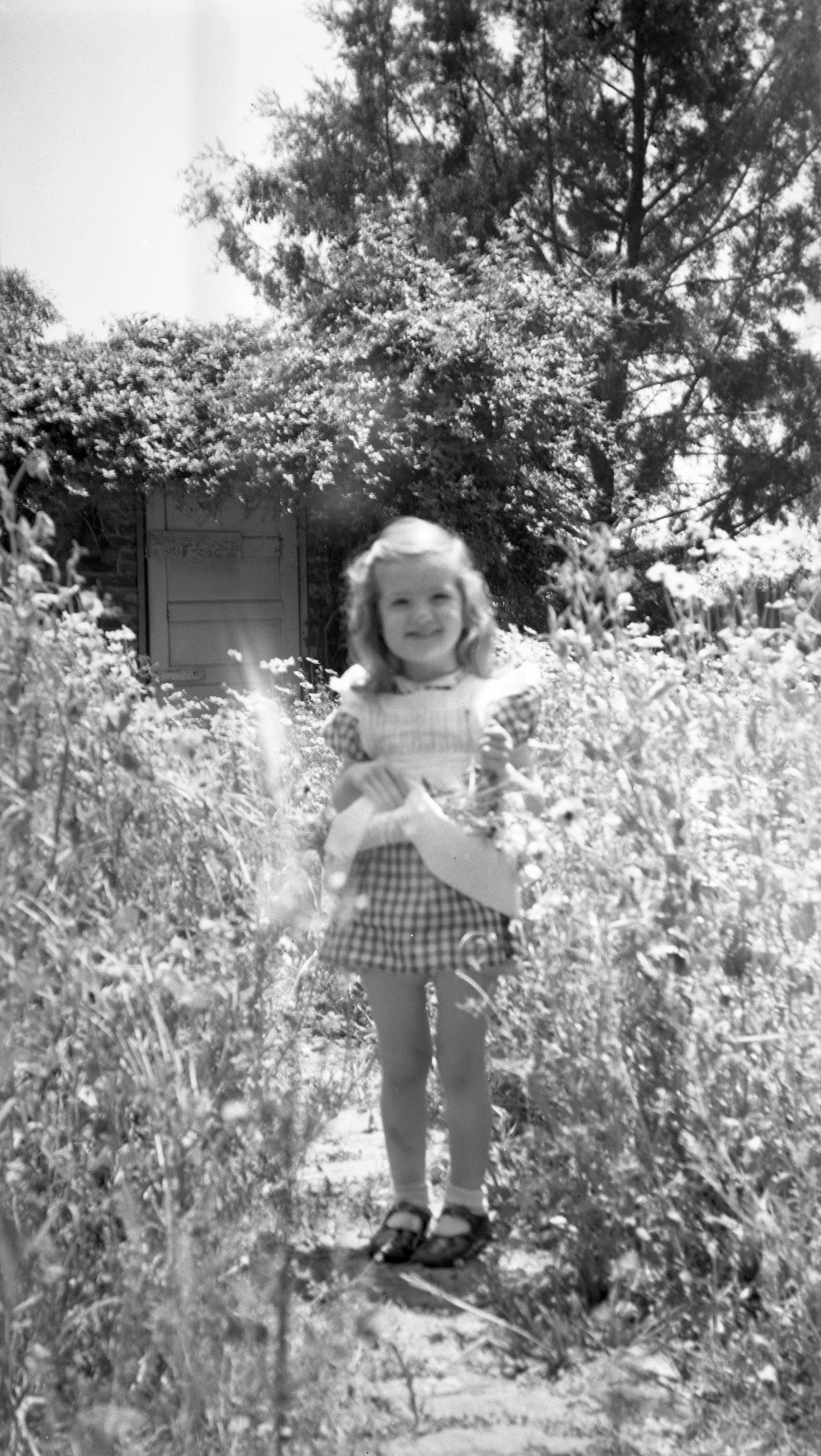 Sandra Dixon picking flowers in the garden at her grandmother's house in Tallahassee.