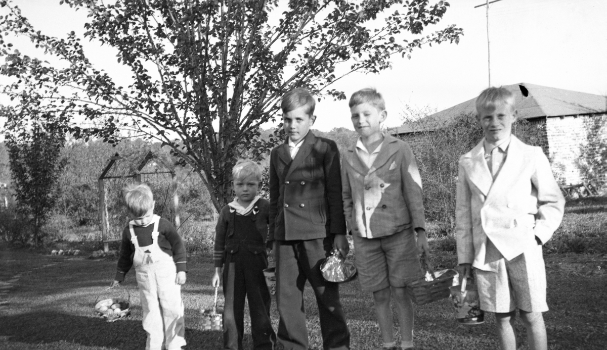 Portrait of boys at Easter egg hunt in the backyard of Cassandra Dixon's home in Tallahassee.