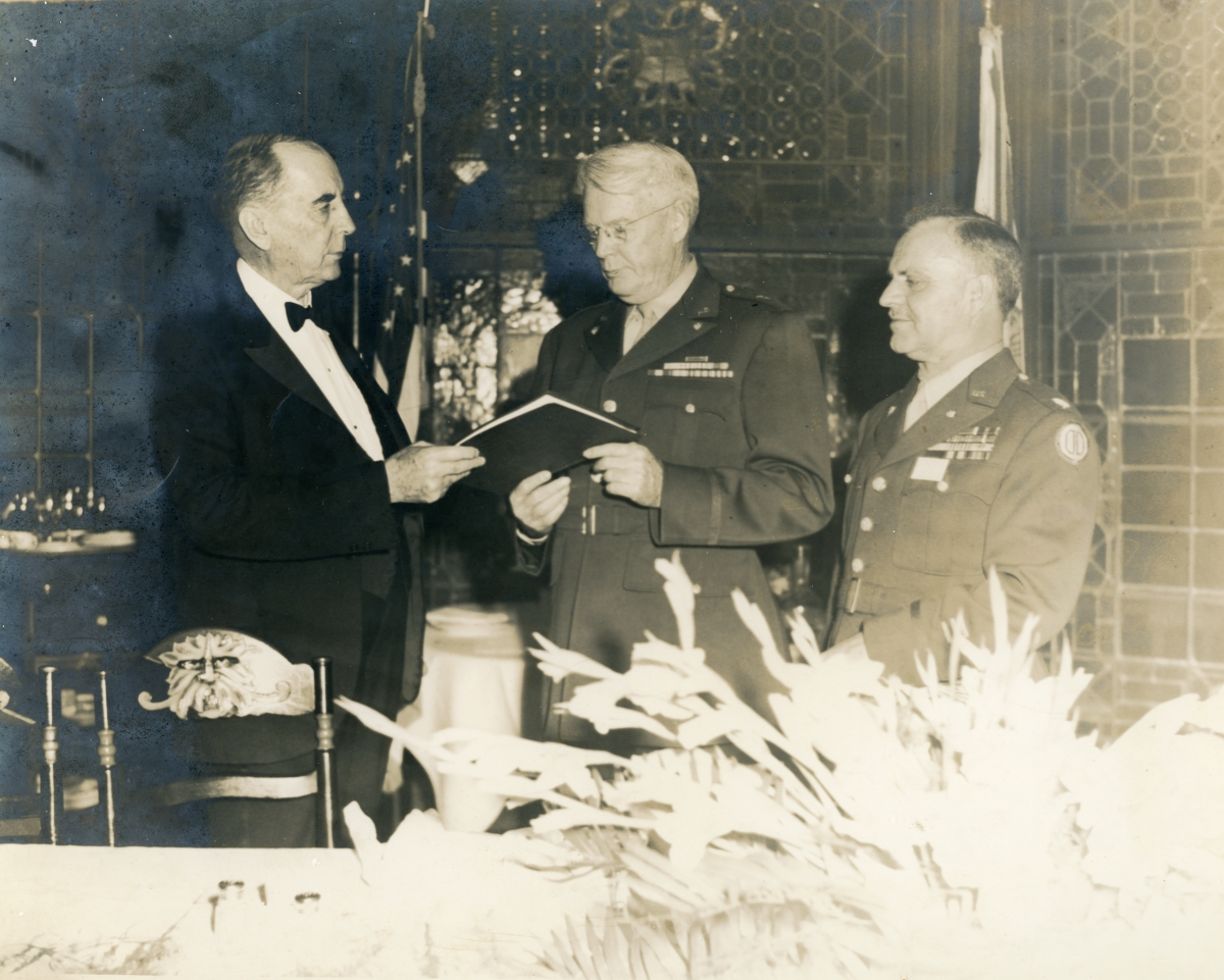 Lieutenant General Blanding, left, with Brigadier General Vivian Collins and Colonel Mark Lance in St. Augustine.