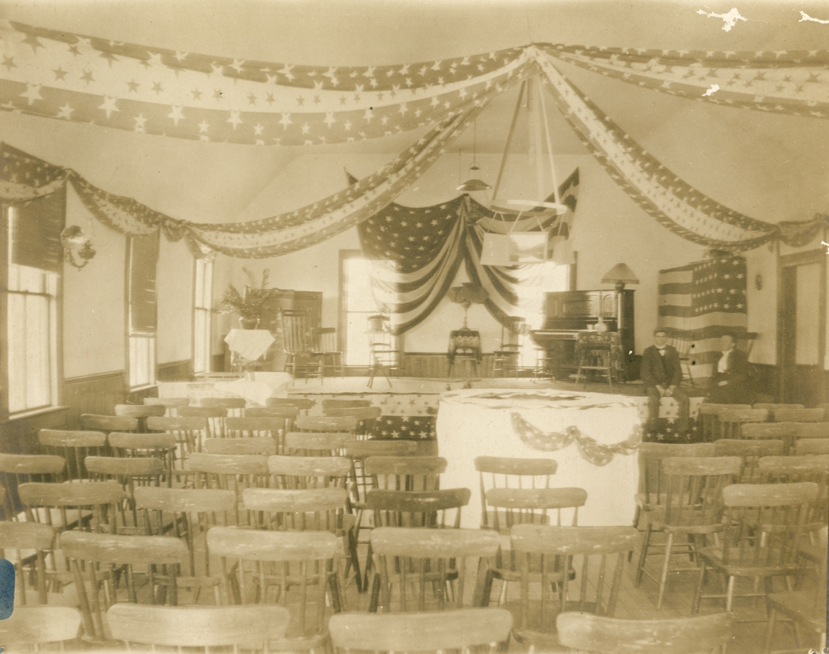 Interior view of town hall at Pomona.