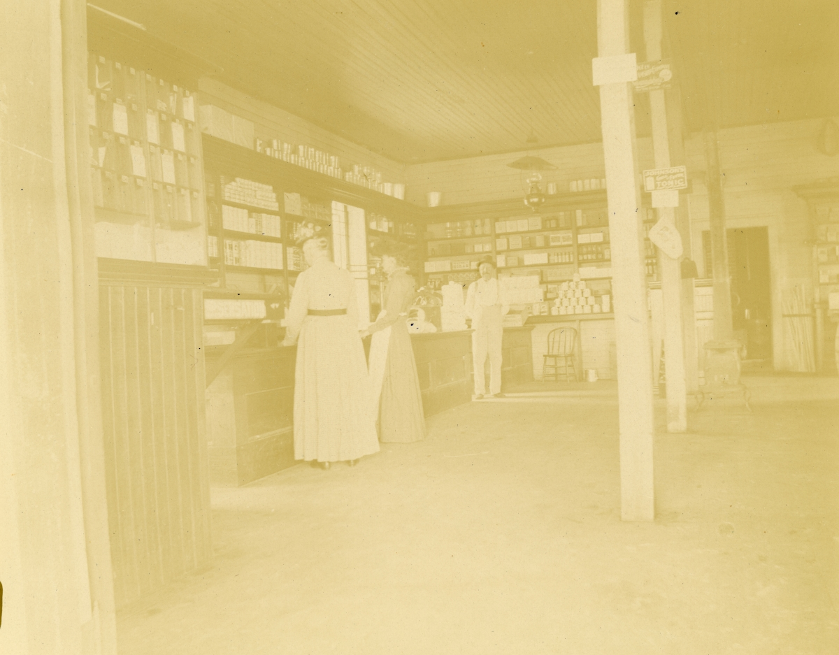 Interior view of C.A. Knowlton's 2nd store at Pomona Park.