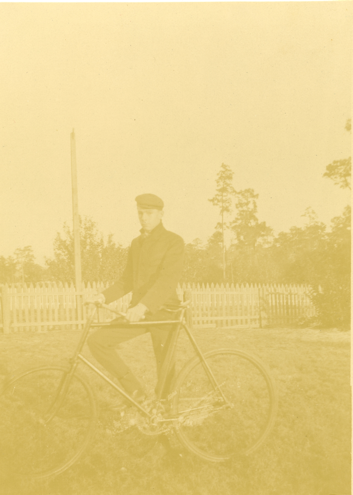 Charlie Piplar with his bicycle in Pomona.