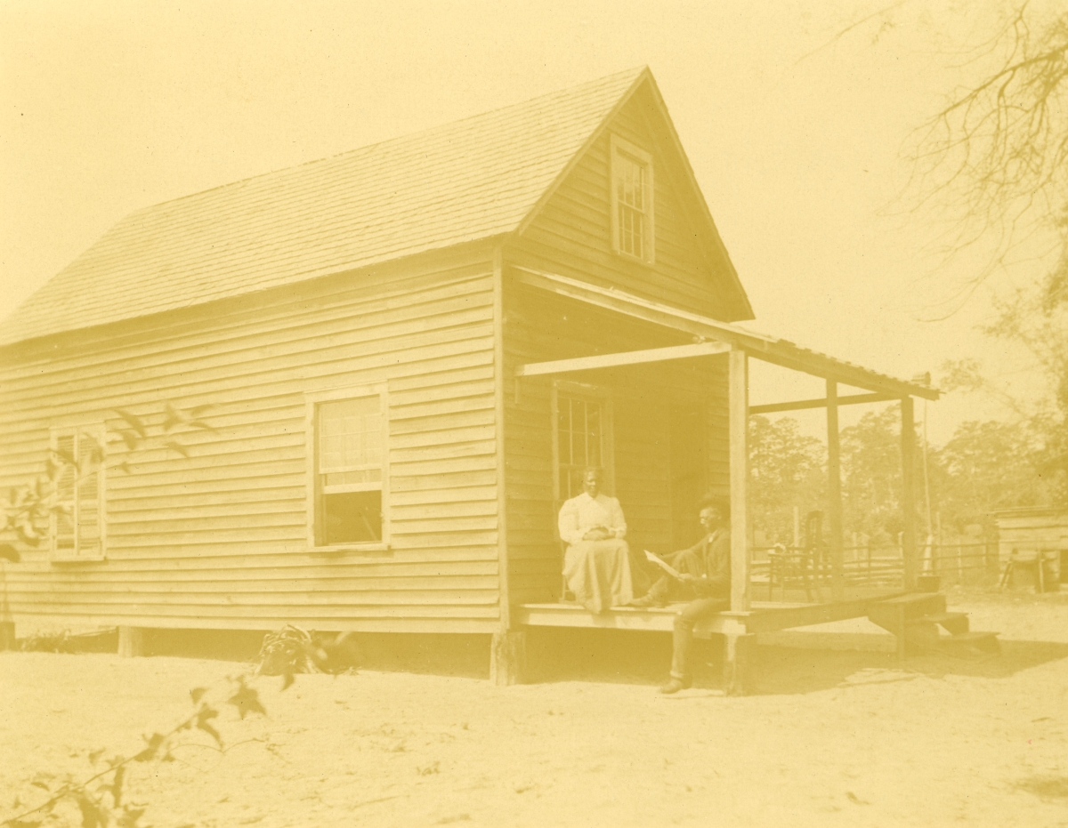 Caroline South Jackson with her son Ned at their home in Pomona Park.