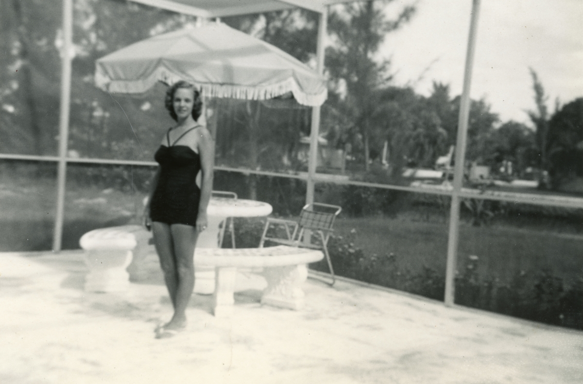 "Dorothy ""Dot"" Page in her bathing suit on the patio at home in Ft. Lauderdale."