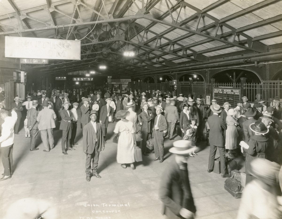 Scene at the Union Terminal railroad depot concourse in Jacksonville.