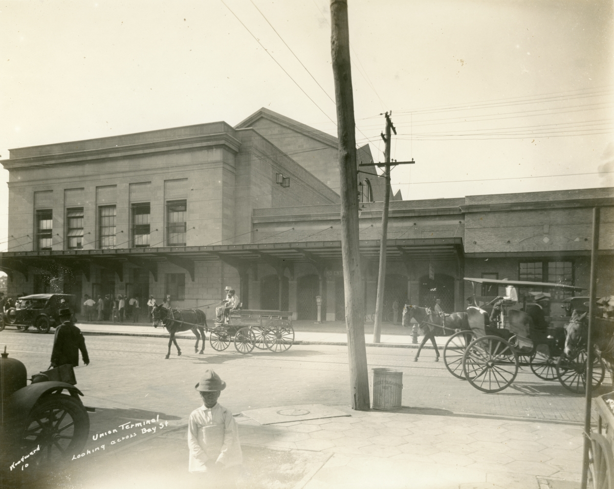Looking across Bay Street at the Union Station railroad depot in Jacksonville.