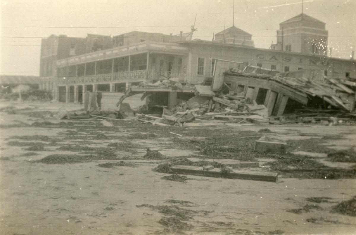 Tornado damage shown to Hardie's Bathing Casino following the 1926 hurricane in Miami Beach.