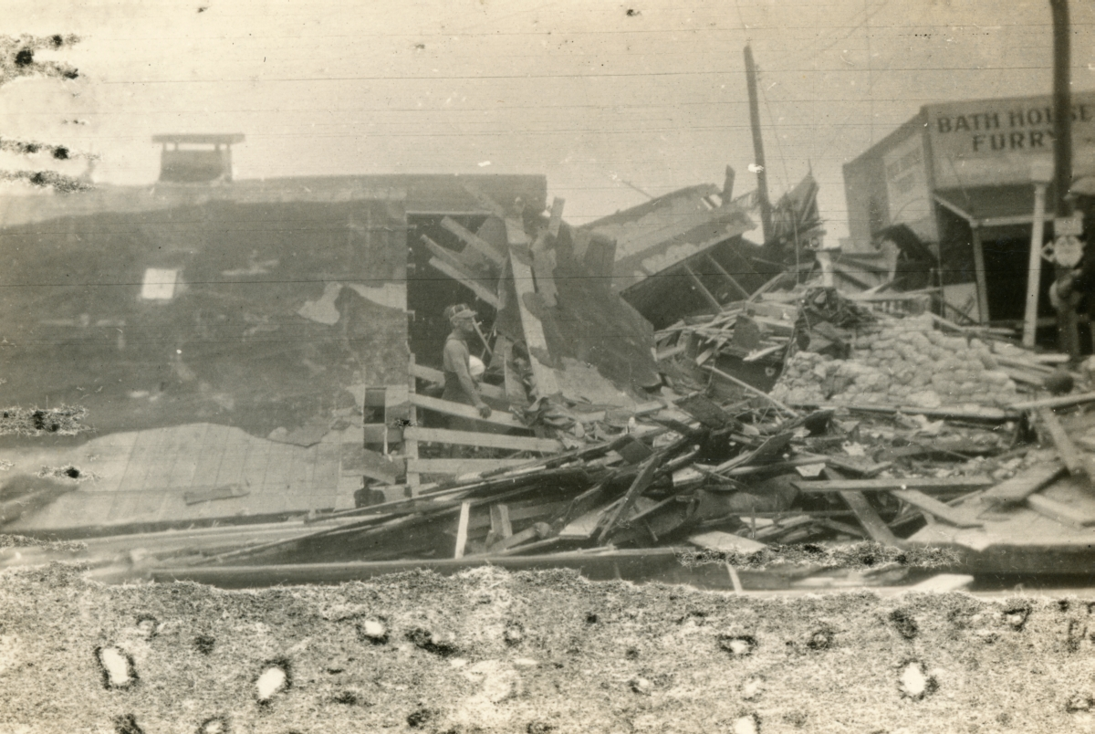 Remains of a bathhouse on Ocean Dr. demolished by the 1926 hurricane in Miami Beach.