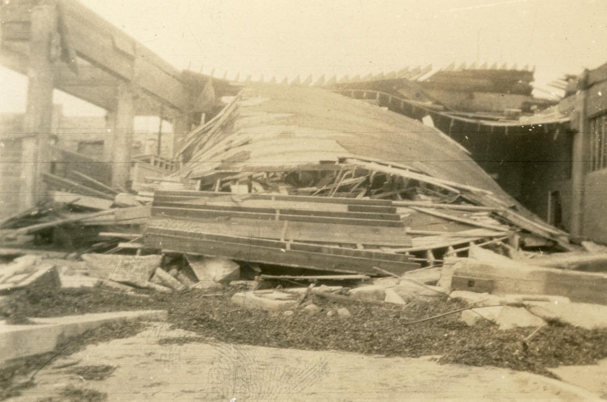 Collapsed roof of a building demolished by the 1926 hurricane in Miami Beach.