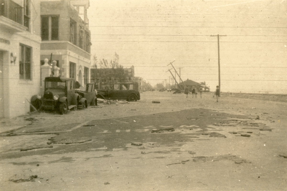 Beachfront street scene following the 1926 hurricane in Miami Beach.