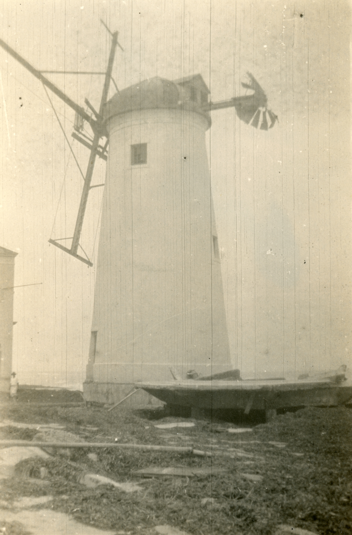 Damaged windmill at the Roman Pools casino shown following the 1926 hurricane in Miami Beach.