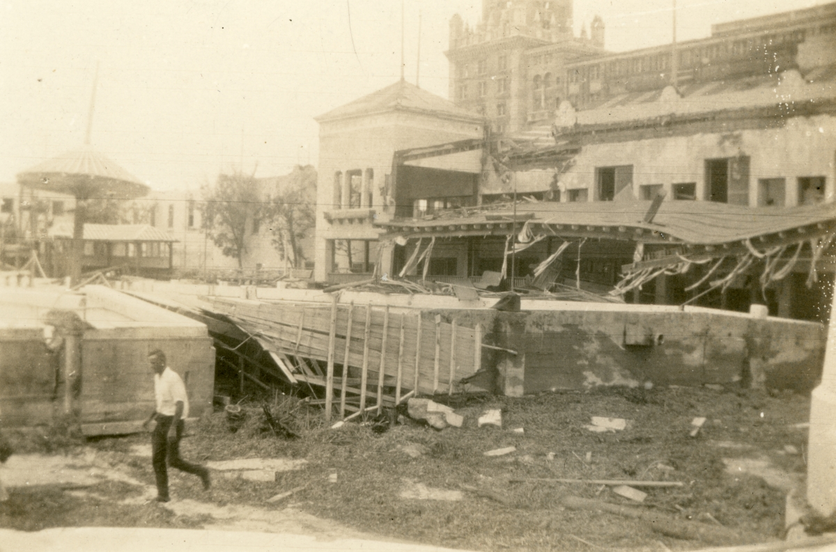 Damage to the Roman Pools casino shown following the 1926 hurricane in Miami Beach.