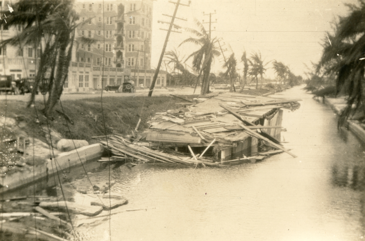 Remains of houseboat in one of the Miami Beach canals following the 1926 hurricane.