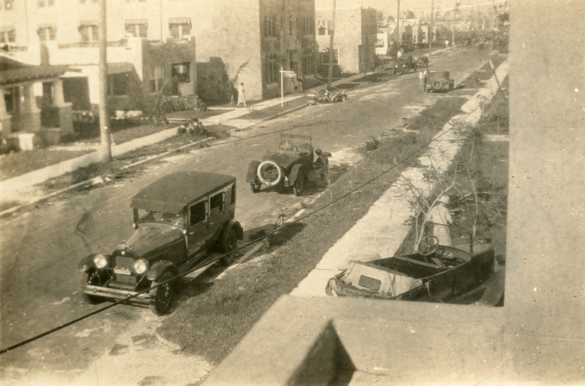 Street scene after the 1926 hurricane in Miami Beach.