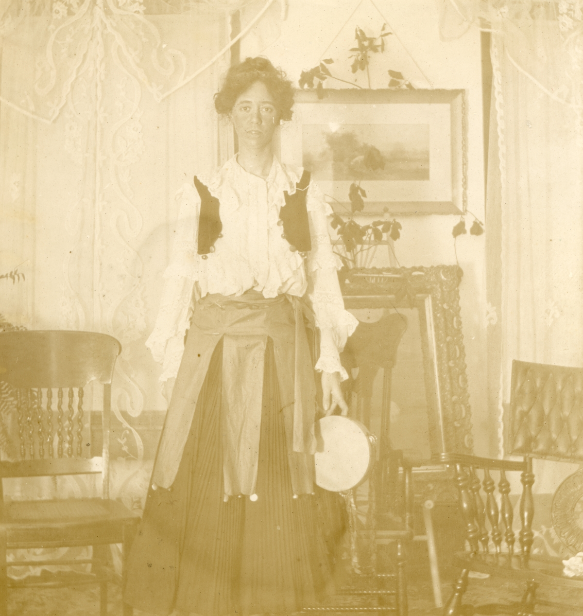"Tallahassee Dramatic Club member Miss Cassie Sweeting in the ""Birth of 1907""."