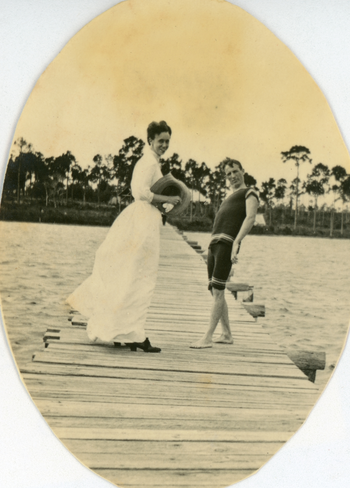 Cassandra Sweeting with an unidentified friend on a dock in Lanark.