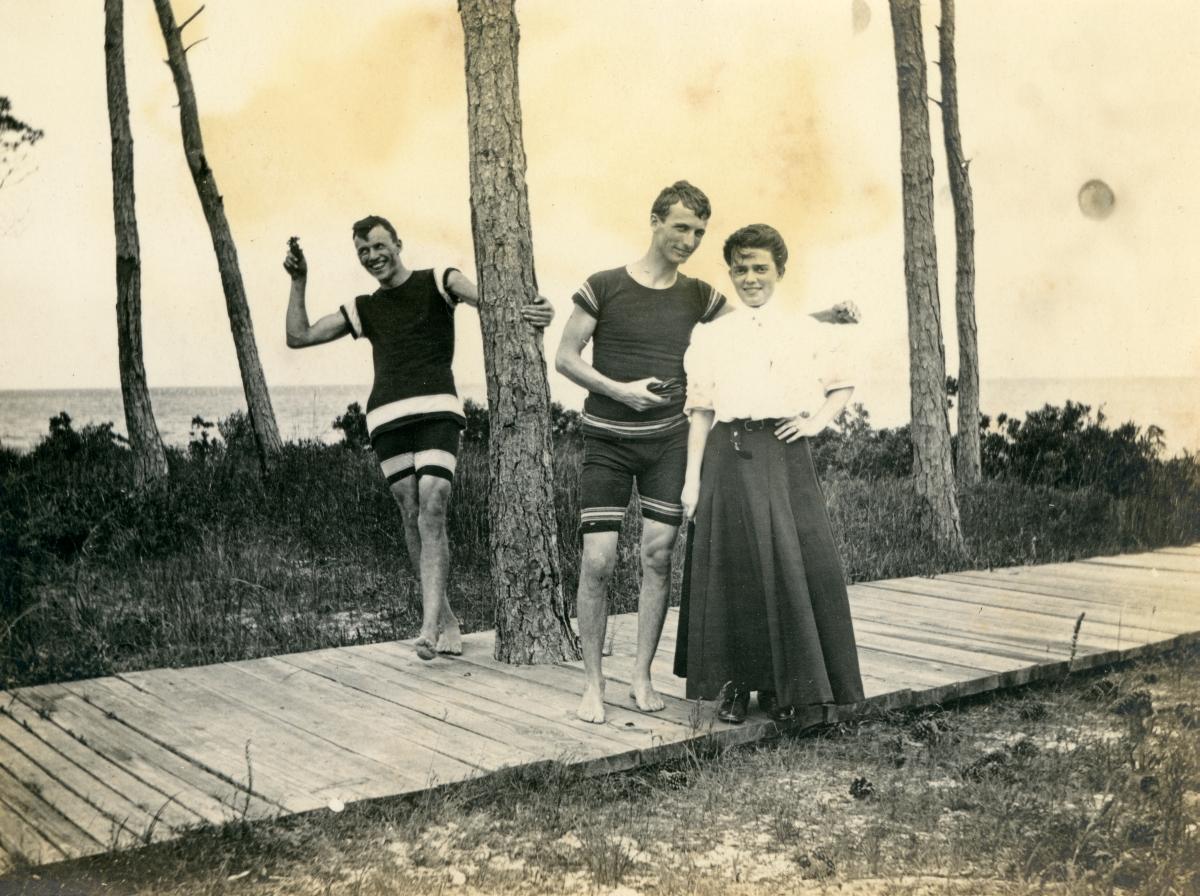 Ethel Miller with friends in Lanark.