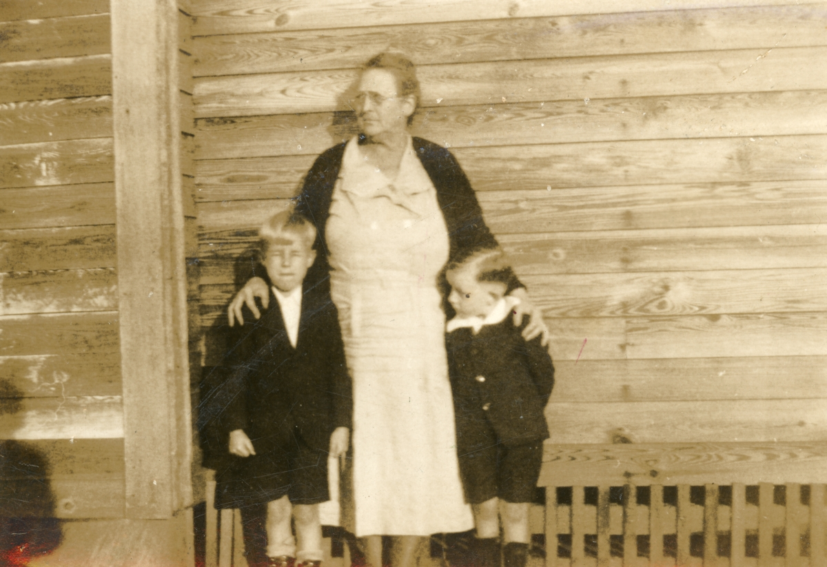 Luther and Harold Coleman with their grandmother Leila in Munson.