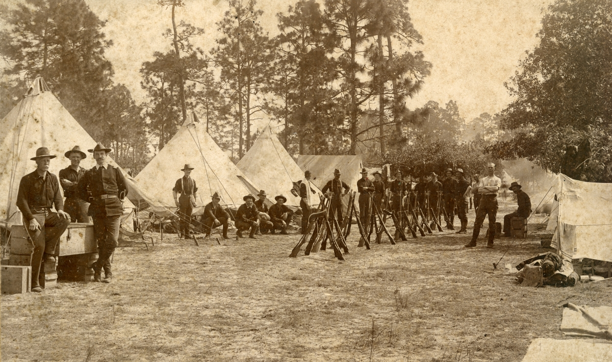 Group portrait at Spanish-American War camp near Jacksonville.